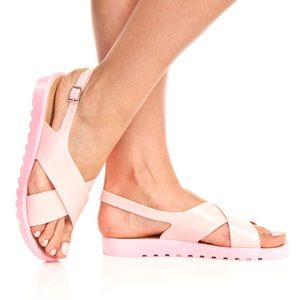 Pink Jelly Criss Cross Sandals
